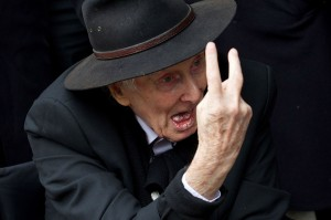 Ronnie Biggs arrives to attend the funeral of Bruce Reynolds-1775032
