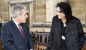 Bercow (on the right) meets Alice Cooper