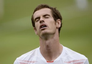 Andy Murray of Britain reacts during his men's singles final tennis match against Roger Federer of Switzerland at the Wimbledon Tennis Championships in London