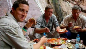 """For survival in the wild, you can't beat a good curry with the film crew!"""