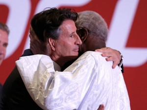 Sebastian Coe exchanging fluids and bribes up the arse with Lamine Diack