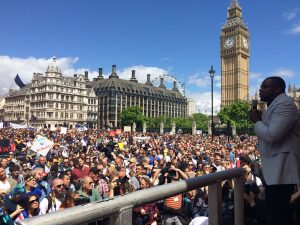 Well known racist cunt David Lammy addresses a huge crowd of stupid people in London